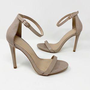 Aldo nude snakeskin embossed ankle strap heels